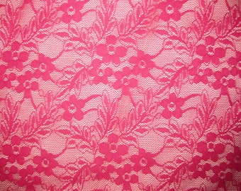 Hotpink  4 way stretch thick lace Fabric