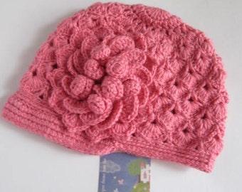 Girls Newsboy Flower Hat Beanie, Crochet Brim Flower Hat, Flower Newsboy Cap, Girls Brim Hat, Crochet Hats for Kids, Newsboy Hat with Flower