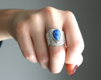 Lapis Ring Wide Band Sterling Silver Unique OOAK Statement Ring