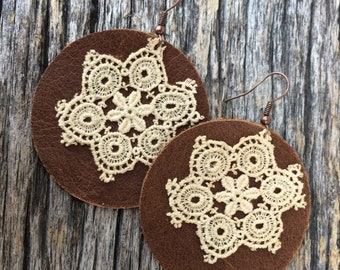 Leather and Lace Earrings by Stacy Leigh in Distressed Brown Leather and Antique Lace on Copper Hooks