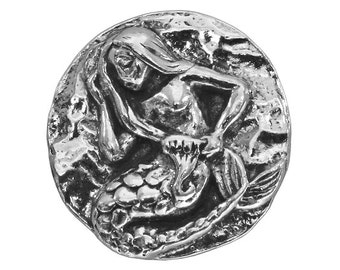 Green Girl Mermaid 13/16 inch ( 21 mm ) Pewter Metal Button