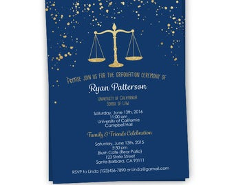 Law School Graduation Invitation, Navy and Gold Splatters, Digital file or Printed, Lawyer, School of Law Graduation