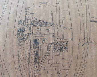 """The Oval House, cobblestone area, Yonic drawing on paper, a copy on 8.5 x 11"""" acid free paper, rare and old."""