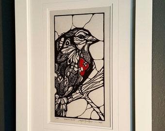 ORIGINAL BIRD with a heart LINOCUT - linoleum blockprint - handprinted