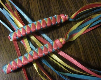 Braided Ribbon Barrettes / Set of Two in Hot Pink / Yellow / Turquoise