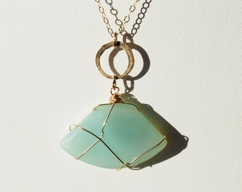Green Chalcedony and 14K Gold Filled necklace with hand wire wrap  - SPIRITUAL GRACE