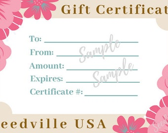 Seedville USA Shop Gift Certificate - Pink Flowers Design - By Email or Postal Mail - You Choose Amount