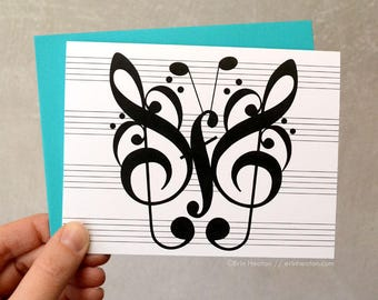 Music note card / BUTTERFLY music note card / Music stationery / Music teacher gift / Thank you card / Music note gift / Musician gift