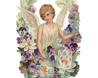 Large Victorian Scrap Of Easter Angel Made In Germany  5086