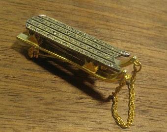 Vintage Signed Darlene Golden Sled Pin Brooch