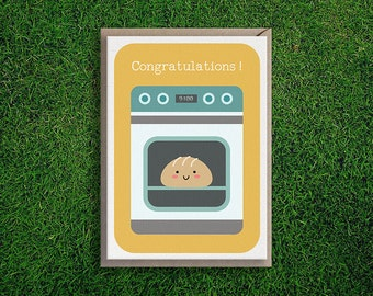 Greeting Cards   Bun in the Oven, Expecting, Congratulations, Baby, Girl, Boy, Mother, Baby Announcement, Shower