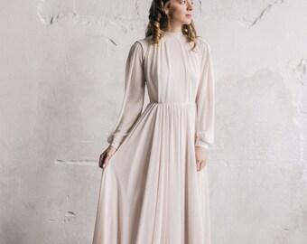 Long sleeve cotton wedding dress with handmade floral print