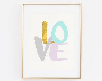 Love Pastel Colors Art Print, Gold Printable wall art, Home Decor, Digital File, Instant Download, Love Art Print, Artwork, Mint Printable