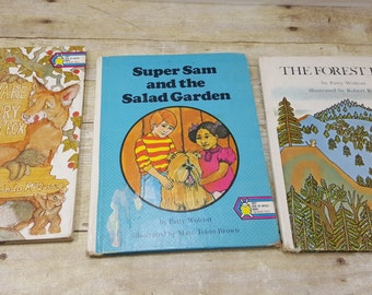 Set of 3, Read by Myself Ten Word Texts, 1970s Beware of the very hungry fox, the forest fire, vintage kids book