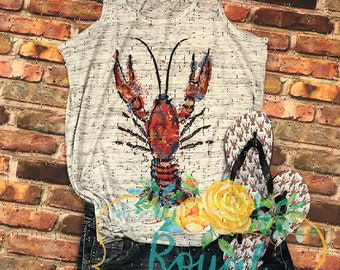 ON SALE Crawfish Shirt, Watercolor Crawfish Shirt, Crawfish Tank Top, New Orleans Crawfish t-shirt