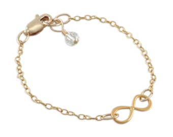 Gold Infinity Link Bracelet, Children's, Charm Bracelets, boutique jewelry birthstone, custom sisters, teen girl gift mother daughter SAGE