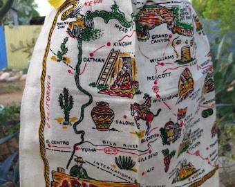 Vintage 1950's - 1960's Map of Arizona Tourist / Souvenir / Route 66 / Wild West Americana Cactus Cotton Dead Stock Half Apron