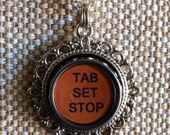 Typewriter key necklace |  large Tab Stop Set key | orange key in silvertone setting