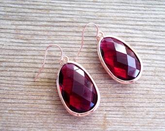 Rose Gold Earrings, Ruby Glass Rose Gold Earrings, Red Glass Earrings, Large Glass Drop Earrings, Holiday Earrings, Statement Earrings