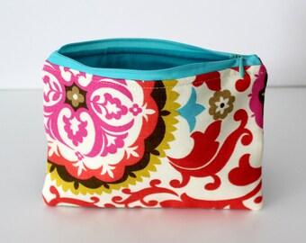 Red Brocade/Aqua Zipper Bag