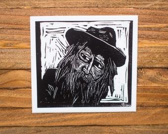 Walt Whitman vinyl sticker-- literary gifts for teacher -- classic literature gift