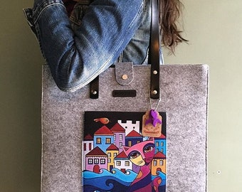 BiggDesign Owl City And Gray Felt Bag