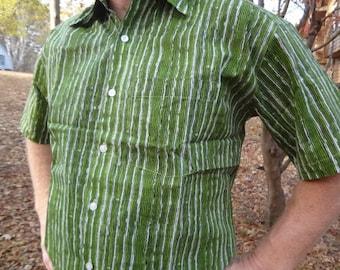 Green Stripe - Men's Handmade Indian Woven Cotton Short Sleeve Button Down Pocket Shirt - Size L or XL - Lucas G739