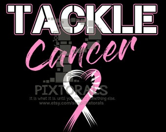 Tackle Cancer Football Design, Breast Cancer Awareness, Breast Cancer Ribbon, Breast Cancer Tackle Cancer Tee Design