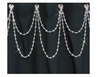 Beaded Shower Curtain Bling...Double Swag......Bright Crystal Resin