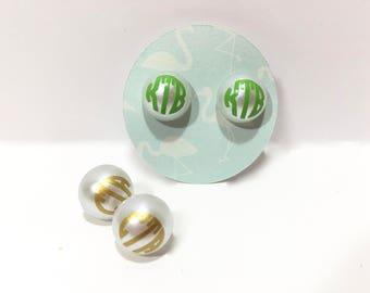 Monogram earrings, personalized earrings, monogrammed pearl earrings, monogram, monogram jewelry, custom jewelry, pearl earrings, studs
