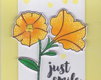 Just Smile....flowers, rainbow, smile, handmade cards