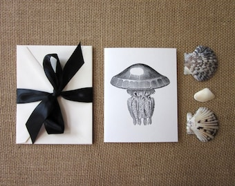 Jellyfish Note Cards Set of 10 with Matching Envelopes