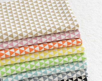 Sale- Geometric Triangle Linen Cotton Fabric in Khaki Pink Orange Yellow Green Blue Grey Black & White For Bag Cover Upholstery-  1/2 Yard