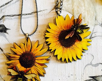 Sunflower with Bee Pendant