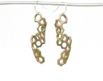 Boucles d'oreilles en nid d'abeille (3D acier imprimée, Bronze ou or)