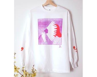 Pink and red Flowergazer Unisex Longsleeve Tee shirt