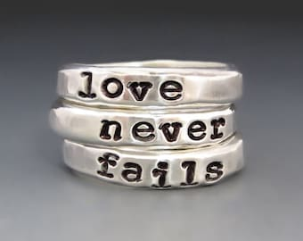 Trio of Rings / Love Never Fails Sterling Silver Stacking Rings / Love Ring / Valentine's Day / Gifts for Her / Anniversary Gift / Custom