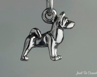 Miniature Sterling Silver Akita Charm Dog Small Tiny 3D Solid .925