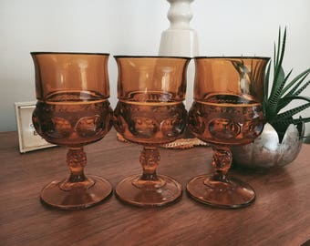 Set of 3 Vintage Amber Glass Chalices