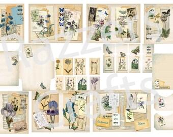 Vintage 'Blue botanical Collage' digital journal kit
