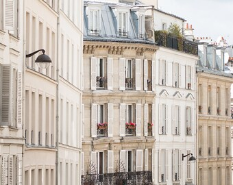 Paris Photography, Afternoon Light in Montmartre, Rooftops of Paris, flower boxes, soft blue and grey, Paris Photo, Wall Decor,Paris Print