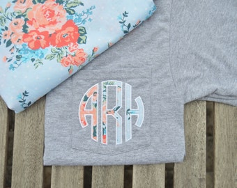 Short Sleeve Monogram Pocket Tee, monogrammed pocket Short Sleeve t shirt, monogram pocket tshirt, Applique monogram pocket tee for women