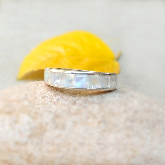 Eternity Ring Rainbow Moonstone 925 Silver Ring June Birthstone Moonstone Silver Eternity Band Gift Jewelry Ring Size 4 5 6 7 8 9 10 11 12 by Etsy