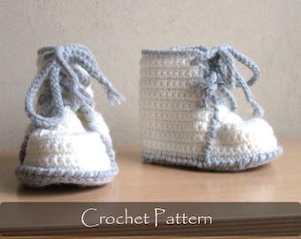 CROCHET PATTERN - Crochet Booties Pattern Martens Boots Child Shoes Pattern Children Boy Booty Pattern Toddler Sizes 12-36 months PDF P0034