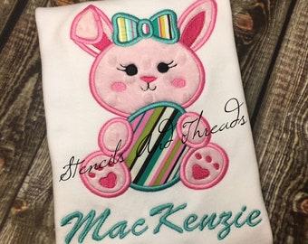 Easter Bunny Shirt/ bunny rabbit shirt/ easter embroidery design/ girl easter bunny