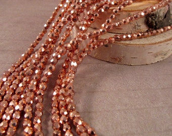 FIND A PENNY 3mm Firepolish Copper Penny Czech Glass Faceted Rounds - Bright Copper Metallic - Qty 50 (3-038)