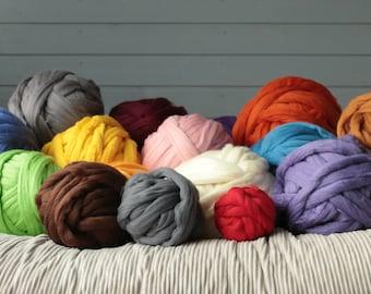 Chunky yarn, Chunky merino wool yarn, Arm knitting yarn. DIY Arm knitting merino wool Arm blanket knitting kit.arm knitting wool 23 micrones