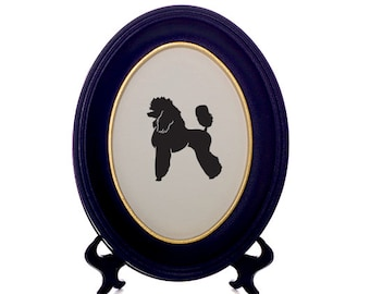 French Poodle Dog Bespoke Framed Paper Cut-Out Silhouette - Custom Design Available