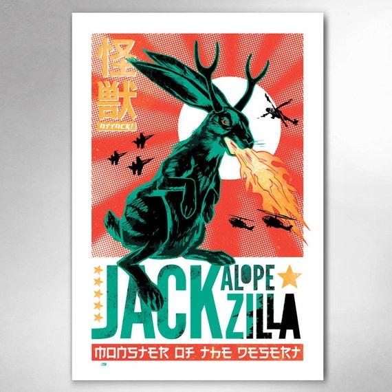 JACKALOPE-ZILLA Limited Edition 13x19 Art Print by Rob Ozborne