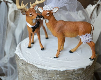 Deer wedding cake topper-Bride-groom-ivory-veil-Mr and Mrs-Hunting wedding cake topper-Deer bride and groom-Hunting-Buck-Wedding Cake Topper